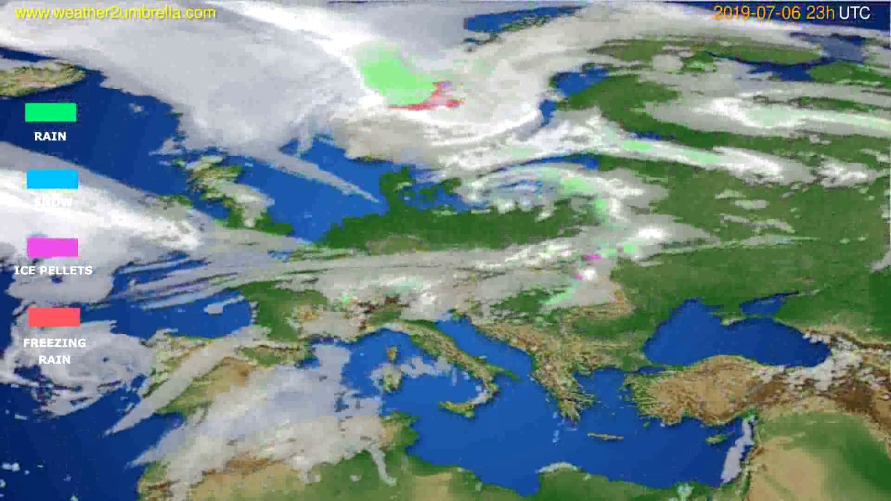 Precipitation forecast Europe // modelrun: 12h UTC 2019-07-03