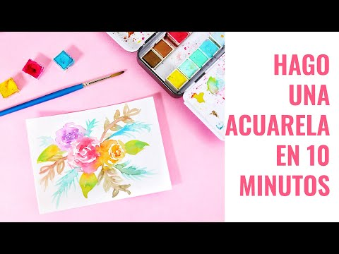 🖌❤COMO PINTAR UNA ACUARELA EN 10 MINUTOS -TUTORIAL PARA PRINCIPIANTES -  🖌TEN MINUTE WATERCOLORS