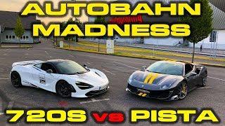200 MPH AUTOBAHN MADNESS * Ferrari Pista vs McLaren 720S Roll Racing & Performance Testing by DragTimes