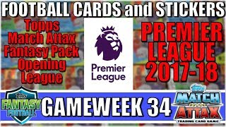 MATCHDAY 34   FOOTBALL CARDS and STICKERS PREMIER LEAGUE 2017/18   Topps Match Attax Cards