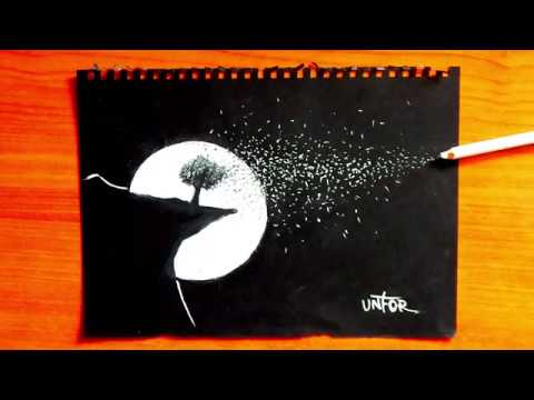 Black And White Moon Drawing | How To Draw The Moon