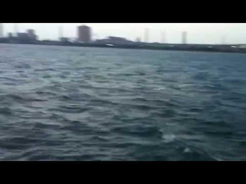 Tsunami warning & heavy wind at Tsurumi, Yokohama, Japan-