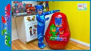 Video Biggest PJ Masks Surprise Egg Toys Ever & Giant Disney Junior Eggs Toy Surprises CatBoy IRL Slide MP3, 3GP, MP4, WEBM, AVI, FLV Maret 2018