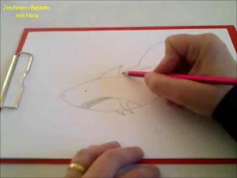 Zeichnen lernen für Anfänger und Kinder. Unterwasserbild.Hai malen. Haifisch malen.