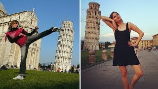 Pisa Italy  city pictures gallery : Tourist Having Fun with Leaning Tower of Pisa Italy