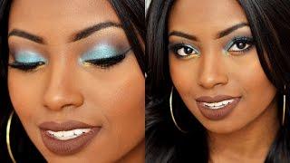 Confira uma maquiagem colorida em tom de azul com um toque de amarelo. Cores que realça e destaque pele negra. - Loja The Beuaty Point: http://www.dbeautypoi...