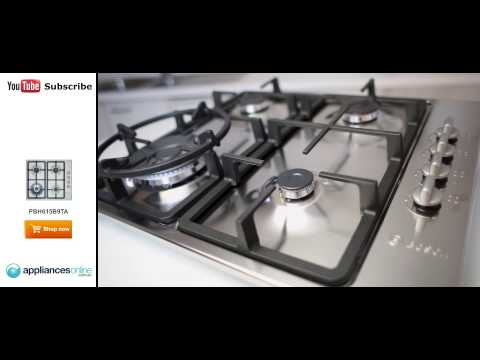 Overview of the Bosch PBH615B9TA gas cooktop with dual flame wok burner - Appliances Online