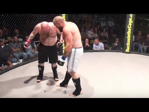 Fighter craps all over cage mat during fight!