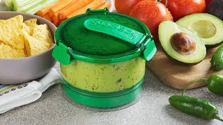 https://www.thegrommet.com/guac-lockLock that guac. This shatter-proof, odor-proof guacamole container keeps it fresh, green, and ready-to-eat for longer. The container sits on a base that removes oxygen with a push (it reminds us of those push-up popsicles), creating an airtight seal. This keeps the avocados from turning brown, which means your guac stays green for days. And this oxygen-deprived environment can preserve other dips, too, like hummus, cocktail sauce, salsa fresca, and even tzatziki. When you're ready to eat, Guac-Lock is great at serving, too. The push feature helps when you're enjoying your dip. Give a gentle press down on the container's sides to push the dip to the top, which looks more appealing and avoids having to scrape down the sides. We know how seriously people can get about their guacamole. Guac-Lock preserves it 'til the last drop.