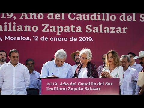 Firma presidente AMLO declaratoria del Año del Caudillo del Sur, Emiliano Zapata Salazar
