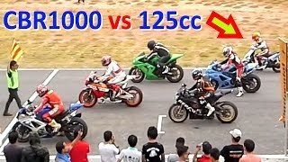 7. CBR 1000 vs 125cc SCOOTER ! Racing on a track