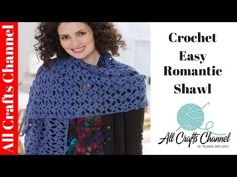 How to crochet romantic lacy shawl - easy/beginner level / shawl en crochet