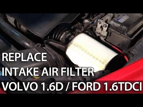 How to change air filter 1.6D 1.6TDCi 1.6L (Volvo Ford Focus C-Max Mazda V50 S40 C30)