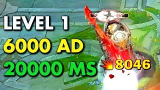 6000+ AD & 20000+ MS at LEVEL 1! Gamebreaking Jhin Bug!