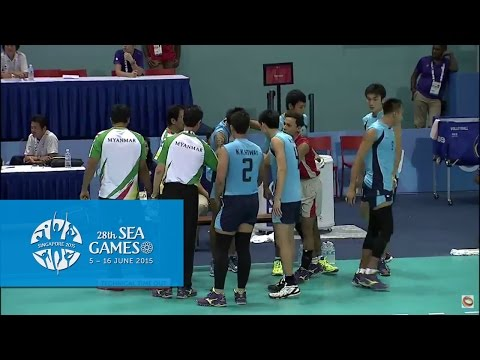 Volleyball Men's Mya Vs Phi Preliminary Pool A Match 4  (day 6) | 28th Sea Games Singapore 2015