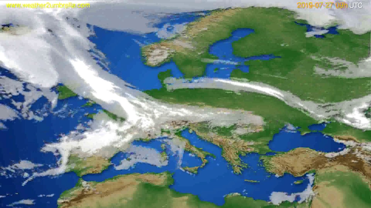 Cloud forecast Europe // modelrun: 12h UTC 2019-07-25
