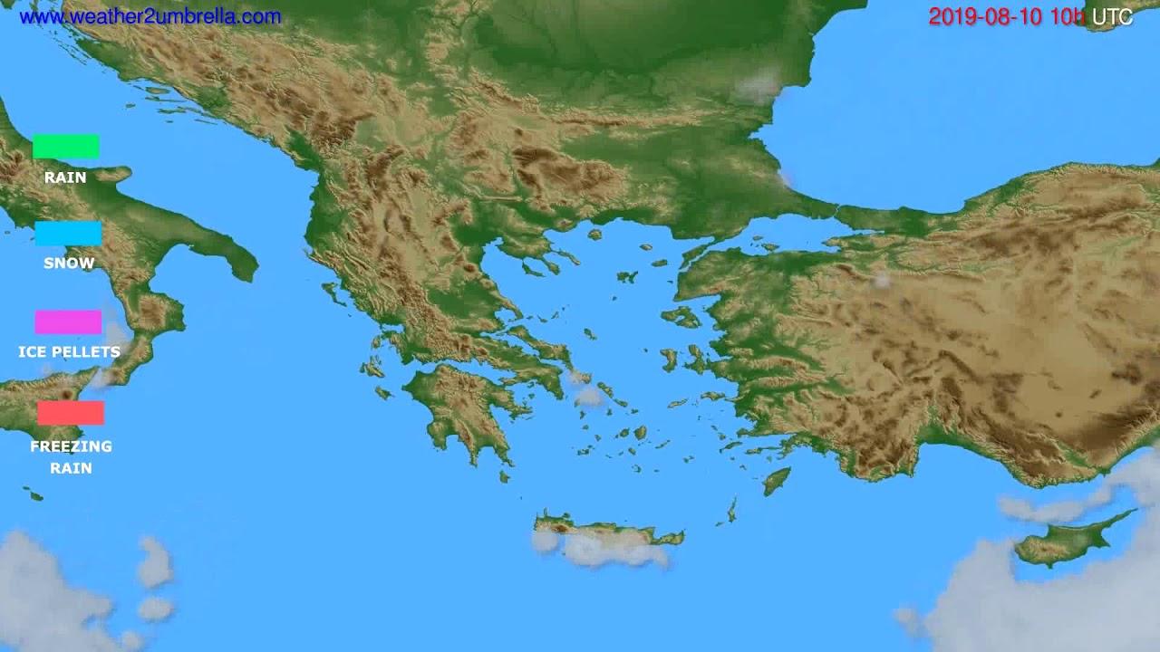 Precipitation forecast Greece // modelrun: 00h UTC 2019-08-08