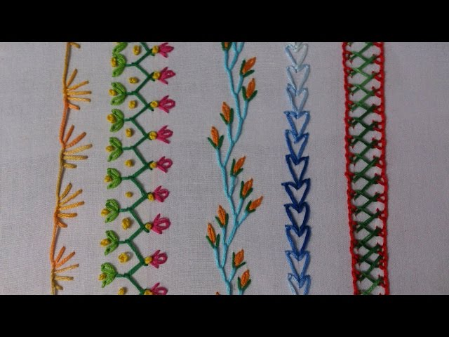 Hand embroidery stitches tutorial for beginners part
