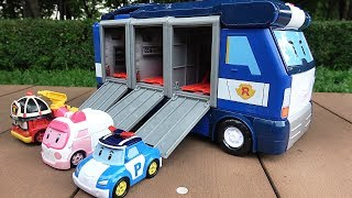 Robocar Poli Mobile Headquarters with Poli, Amber, Roy Transforming Robot Toys
