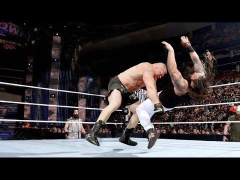Brock Lesnar vs  Bray Wyatt & Luke Harper - 2 on 1 Handicap Match - WWE Roadblock 2016
