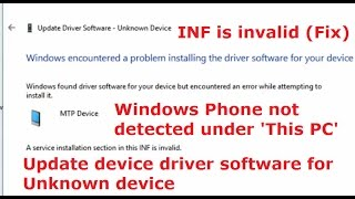 When i connect the Windows 10 mobile phone to Laptop using USB cable, it is not detected in 'This PC' Window of Windows 10.In device manager, it is shown as Unknown device under other devices. When i update driver software for the unknown device from online. Windows encountered a problem installing the driver software for your device. Windows found driver software for your device but encountered an error while attempting to install it.MTP DeviceA service installation section in this INF is invalid.Solution: Instead searching for driver software online. Browse for driver software on your computer. Search for driver software in this location 'C:WindowsINF'. Select mobile device as the device type. Then select MTP USB Device. That's all drive software will be installed and your windows phone will be shown under This PC.