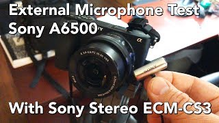 This is just a quick test, comparing the audio fidelity of the internal mics on a Sony Alpha A6500 mirrorless camera with an external mic - the ridiculously cheap Sony Stereo ECM-CS3. I've used the CS3 for years - connecting them to Zoom H1 and H2 handy recorders to get the audio for my productions, then synching the audio in Adobe Premiere Pro. If I can get the sensitivity set just right, I might start direct mic-ing into the 6500 on some projects. Let me know how you think the sound is straight into the camera.