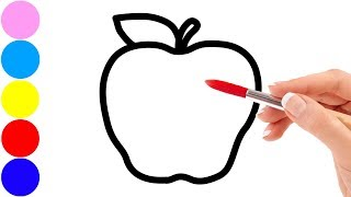 Drawing fruits : apple, peach, banana, pear and coloring for kids toddlers   Sunny Colours ☆
