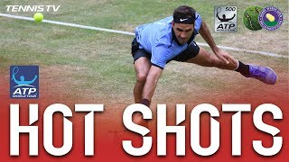 Roger Federer busts open his tight Halle second-round battle with Mischa Zverev with this break-point hot shot. Watch live matches at tennistv.com. Photo: Ge...