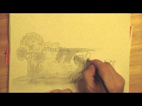 Zeichne Landschaft mit Wasserfällen – Draw landscape with waterfalls