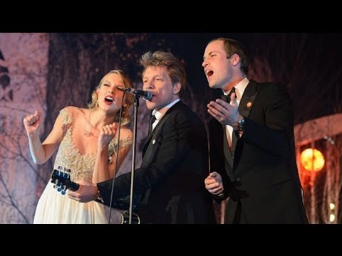 jon - Prince William belts out Bon Jovi's Livin' On A Prayer rock anthem after joining him and US pop star Taylor Swift on stage at a charity event The Duke of Cam...