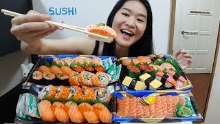 """Eating SUSHI! Bought some salmon sashimi and assorted sushis from my local supermarket. Come join me =)Eating starts 2:05Subscribe to my channel: https://www.youtube.com/peggieneo?sub_confirmation=1Nuclear Fire Noodles Challenge video: https://youtu.be/7bFLvyG2cWYCheck out other eating shows of mine!KFC Curry Crunch Feast https://youtu.be/3FfXPoyrj8AWingstop Chicken Wings Feast https://youtu.be/WI8q9AxCHVsJollibee Fried Chicken Feast https://youtu.be/vNjgW-sOo3EPopeyes Fried Chicken Feast https://youtu.be/RyjfP94pAAINoodles Mukbang ShowsFire Noodles Army Stew https://youtu.be/HbFyFpwExskIndomie Mi Goreng Noodles https://youtu.be/CRK3hhmAgtMSuper Cheesy Fire Noodles https://youtu.be/w8Z3-e5iccIBlack Bean Noodles https://youtu.be/yRdw2wnaEqsFood Challenge VideosMassive English Breakfast in UK https://youtu.be/3m62-_VtzzEPho Noodles Challenge in UK https://youtu.be/7DOPI6tSy3MRandy Santel $20 Subway Challenge https://youtu.be/cDPHO3l6nyQSweet Mukbang ShowsDonuts & Ice Cream https://youtu.be/dbCyJP_n5gkChocolate and Mango Cake https://youtu.be/rGG5dIEm5YE20 Cupcakes https://youtu.be/RZ6kyZPiyB8Watch my videos in playlistsSushi https://www.youtube.com/playlist?list=PLlgotZQUikE_ufVc8VphEM_IiTIUEv2A2Fried Chicken https://www.youtube.com/playlist?list=PLlgotZQUikE8YYxF0y6r-GfVRjdG-JdT4Noodles https://www.youtube.com/playlist?list=PLlgotZQUikE8MHgS0I3q3gaJ4wjzJaRV9Pizza https://www.youtube.com/playlist?list=PLlgotZQUikE8-n8AYcflkRC11I8RpNfz-Desserts https://www.youtube.com/playlist?list=PLlgotZQUikE8_Ynd_IzsOr0MKam2IXJk7Food Challenges https://www.youtube.com/playlist?list=PLlgotZQUikE9LyW3-JaDONu9qYEmI6s3ISupport my channel on Patreonhttps://www.patreon.com/peggieneoFollow me on Facebookhttps://www.facebook.com/peggieeatsMusic""""Wallpaper"""" Kevin MacLeod (incompetech.com)Licensed under Creative Commons: By Attribution 3.0 Licensehttp://creativecommons.org/licenses/by/3.0/"""