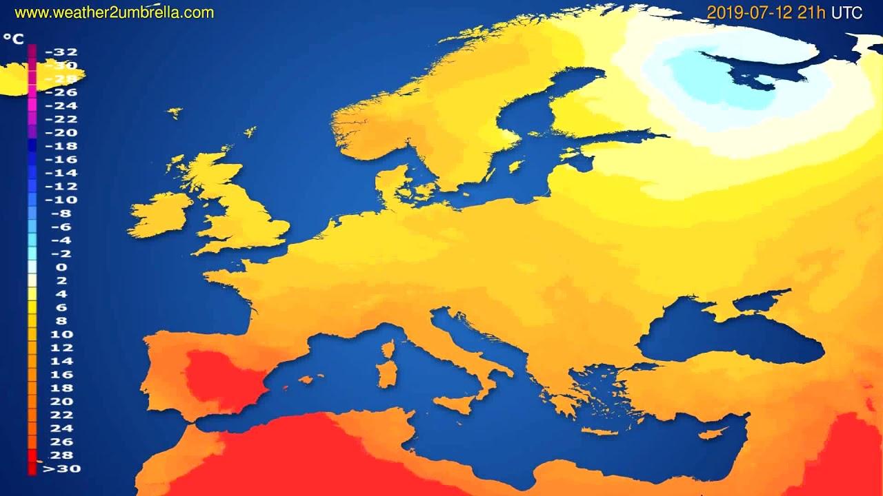 Temperature forecast Europe // modelrun: 00h UTC 2019-07-11