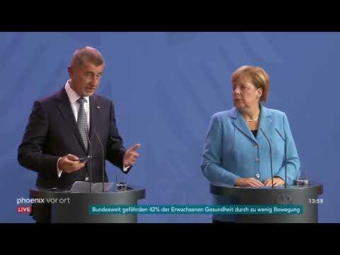 Pressekonferenz zum Treffen von Angela Merkel und And ...