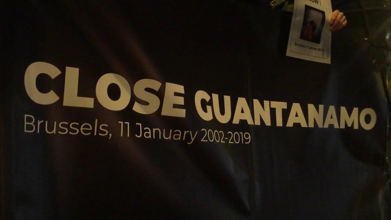 Rassemblement devant l'ambassade des Etats-Unis à Bruxelles pour la fermeture définitive de la prison de Guantanamo (11 janvier 2019)
