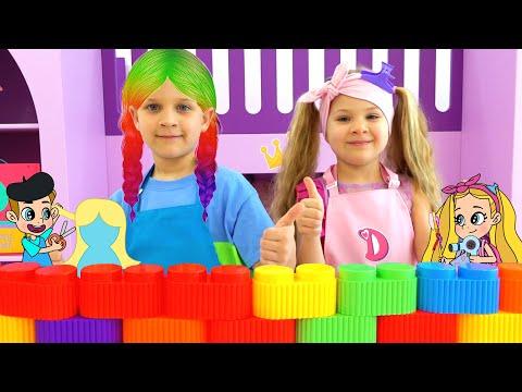 Diana and Roma Rainbow Hair Cartoon Adventure