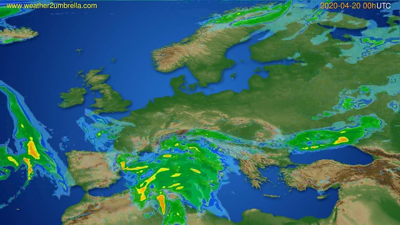 Radar forecast Europe // modelrun: 12h UTC 2020-04-19