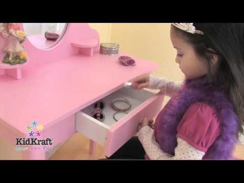 coiffeuse pour enfant rose