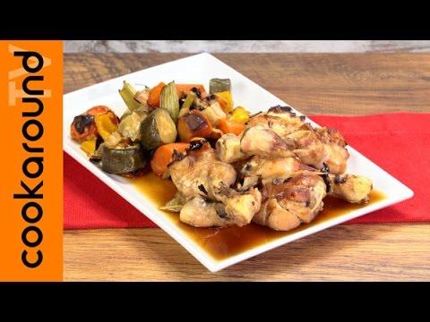 video ricetta: cosce di pollo al forno con verdure