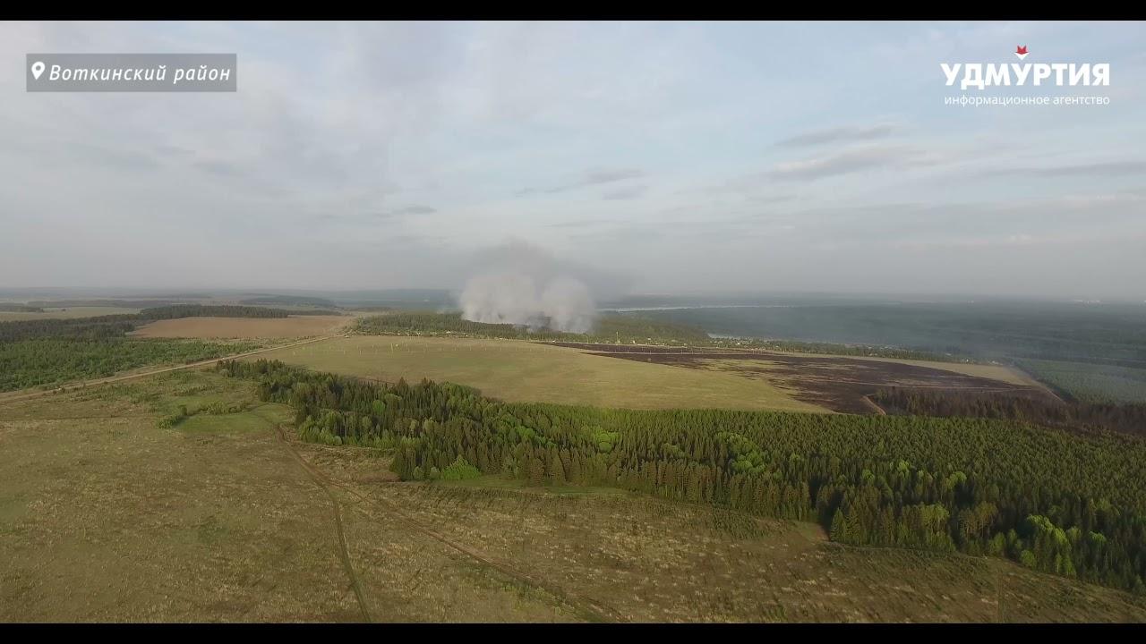 В Удмуртии горит лес на огромной территории