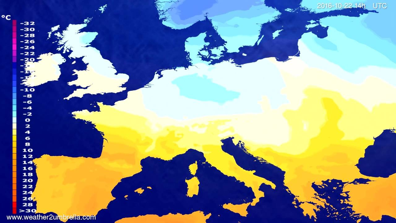 Temperature forecast Europe 2016-10-18