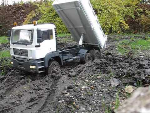 MAN TGA 6x6 dump truck in rough terrain