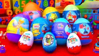 10 Surprise Eggs Unboxing Kinder Surprise Dora The Explorer Toy Story Mickey Mouse Thomas Easter!