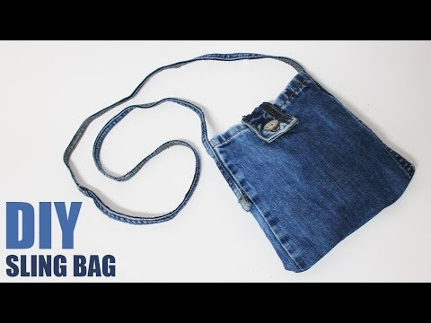 DIY Sling Bag from Jeans - No sew bag from jeans