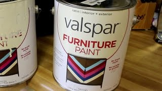 Valspar Furniture Paint Review - No SandingWe painted some very dark cabinets with some Valspar Furniture paint and here are the results. We did NOT sand the cabinets before painting. They were just cleaned. We are very impressed.
