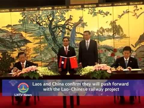 Lao NEWS on LNTV: Laos and China confirm they will push forward with the railway project.10/4/2014