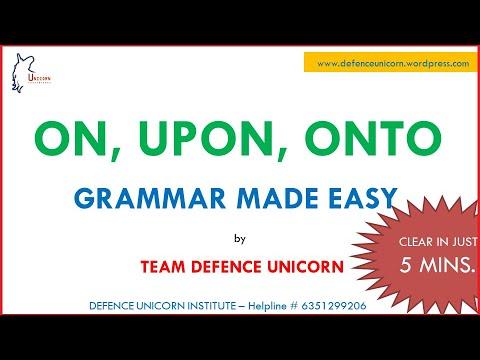 On, Upon, Onto | Prepositions | Grammar | Defence Unicorn