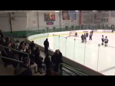 dad - Crazy dad at kids hockey game breaks glass.