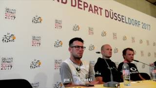 Due to TV right protection, we cannot show any image of this press conference but you can hear it here.(Mark Cavendish, Stephen Cummings, Edvald Boasson Hagen)