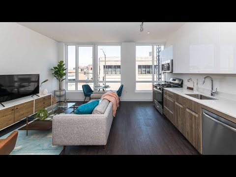 A junior 1-bedroom model at Bucktown's new AM 1980 apartments