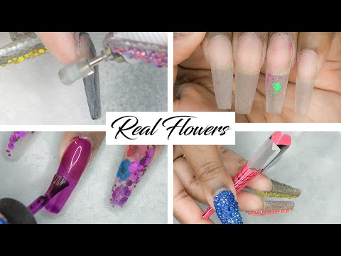 Acrylic Nails DIY - Party Pink Glitter Nails with Encapsulated Dried Flowers - LongHairPrettyNails